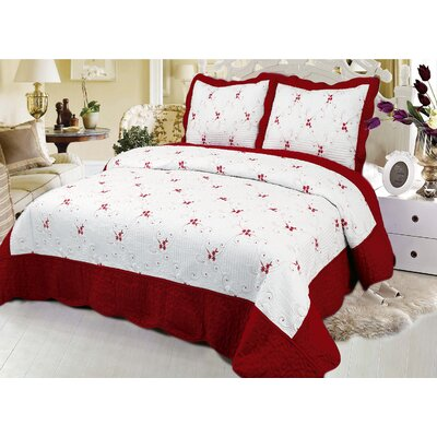 Reversible Quilt Set Color: Burgundy, Size: Queen