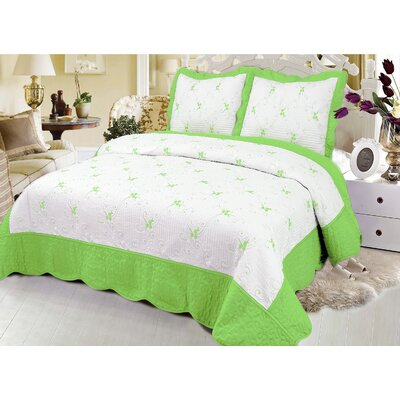 Reversible Quilt Set Color: Green, Size: Queen