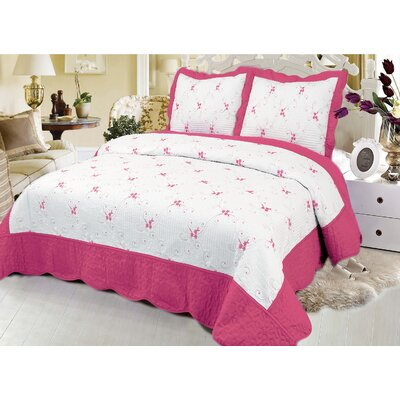 Reversible Quilt Set Color: Hot pink, Size: Queen