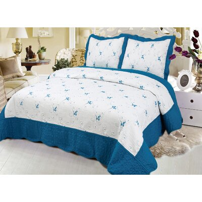 Reversible Quilt Set Color: Turquoise, Size: King