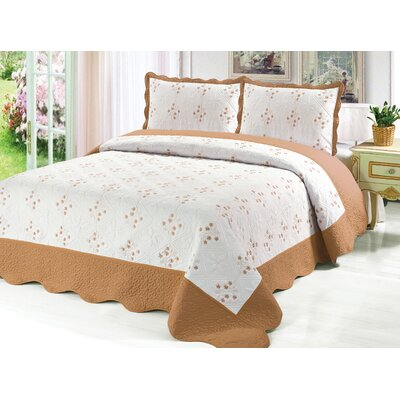 Reversible Quilt Set Color: Gold, Size: Twin