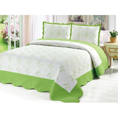 Reversible Quilt Set Color: Green, Size: King
