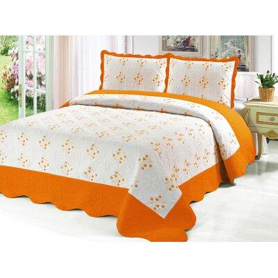 Reversible Quilt Set Color: Orange, Size: King