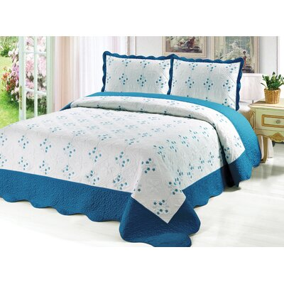 Reversible Quilt Set Color: Turquoise, Size: Queen