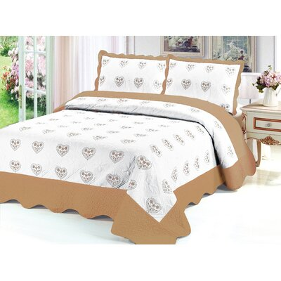 Reversible Quilt Set Color: Gold, Size: Queen