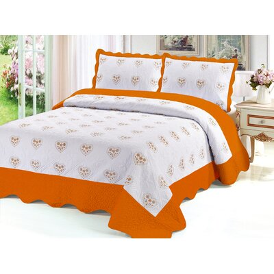 Reversible Quilt Set Color: Orange, Size: Queen
