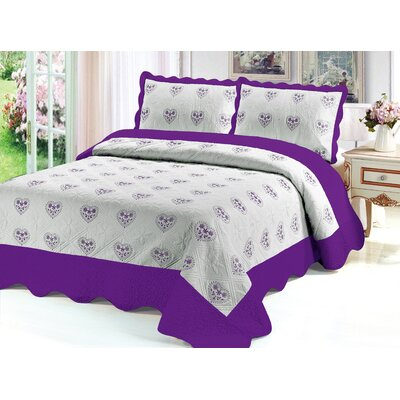 Reversible Quilt Set Color: Purple, Size: King