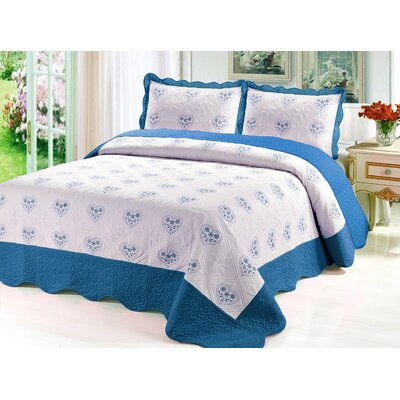 Reversible Quilt Set Color: Turquoise, Size: Twin