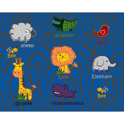 Kids Art Animal Kingdom Multi Colored Area Rug Rug Size: 8 x 10