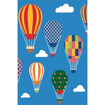 Kids Art Air Balloon Ride Area Rug Rug Size: 4 x 6