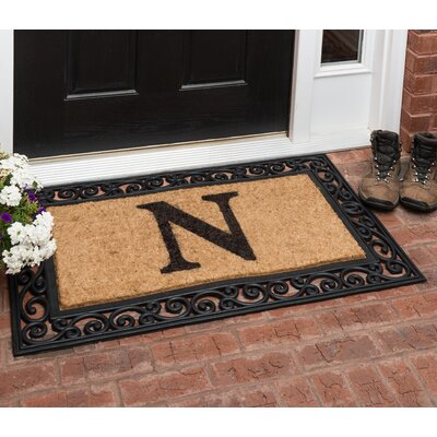 Allete Monogrammed Rubber Doormat Letter: N