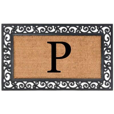 YourOwn Monogrammed Rubber Doormat Letter: P