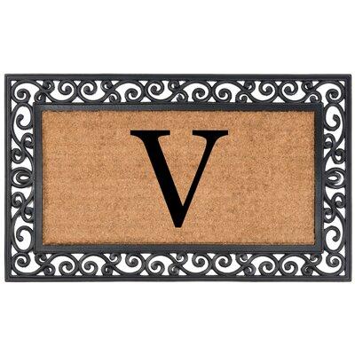 Allete Monogrammed Rubber Doormat Letter: V
