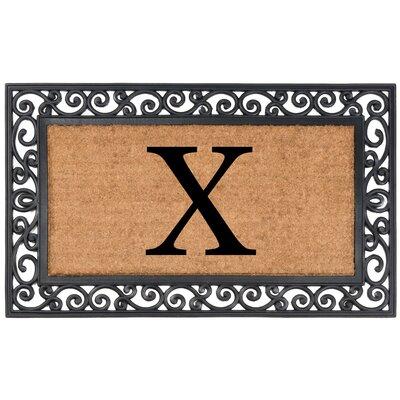 Allete Monogrammed Rubber Doormat Letter: X