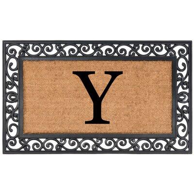 YourOwn Monogrammed Rubber Doormat Letter: Y
