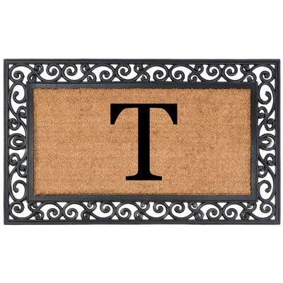 Allete Monogrammed Rubber Doormat Letter: T