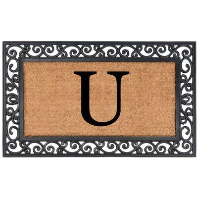 Allete Monogrammed Rubber Doormat Letter: U