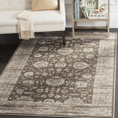 Rindge Brown/Ivory Area Rug Rug Size: Rectangle 51 x 77