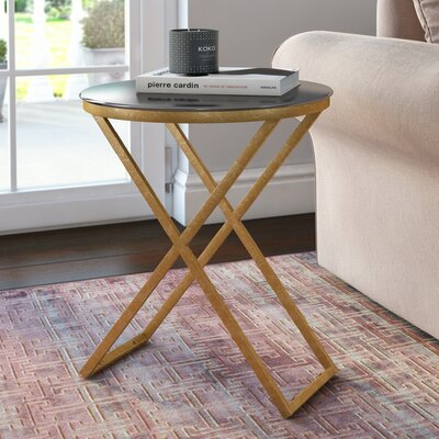 Birrell End Table Color: Gold / Black