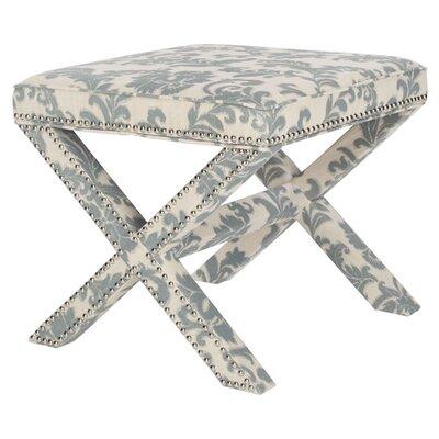Pamela Ottoman Upholstery: Slate And Beige Print