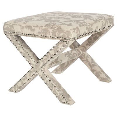 Pamela Ottoman Upholstery: Taupe and Beige Print