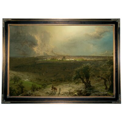 'Jerusalem from the Mount of Olives 1870 Church' Framed Oil Painting Print on Canvas Format: Brown/Gold Framed, Size: 22.25