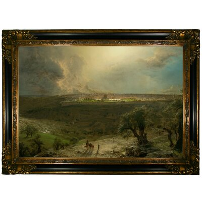 'Jerusalem from the Mount of Olives 1870 Church' Framed Oil Painting Print on Canvas Format: Peru Framed, Size: 24.25