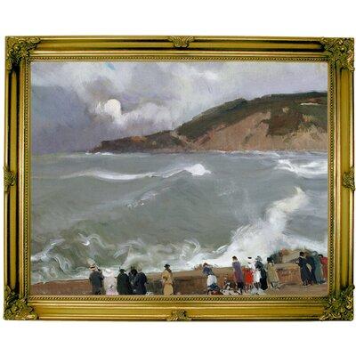 'Breakwater, San Sebastian 1918' Framed Oil Painting Print on Canvas Format: Light Copper Framed, Size: 13'' H x 16'' W x 1.5'' D