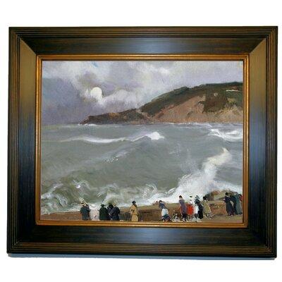 'Breakwater, San Sebastian 1918' Framed Oil Painting Print on Canvas Format: Dark Bronze Framed, Size: 21.5'' H x 25.5'' W x 2'' D