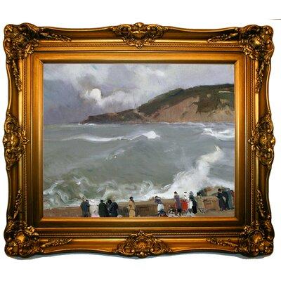 'Breakwater, San Sebastian 1918' Framed Oil Painting Print on Canvas Format: Light Yellow Framed, Size: 23'' H x 27'' W x 3'' D