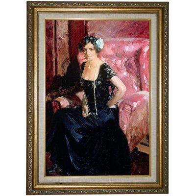 'Clotilde' Framed Oil Painting Print on Canvas Format: Beige Framed, Size: 21.75'' H x 15.75'' W x 2'' D