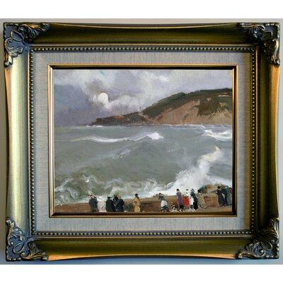 'Breakwater, San Sebastian 1918' Framed Oil Painting Print on Canvas Format: Dark Beige Framed, Size: 12'' H x 14'' W x 2'' D