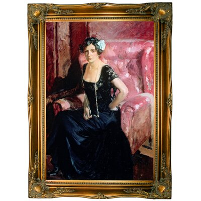 'Clotilde' Framed Oil Painting Print on Canvas Format: Light Gold Framed, Size: 33.5'' H x 24.5'' W x 2'' D