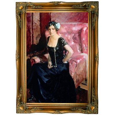 'Clotilde' Framed Oil Painting Print on Canvas Format: Light Gold Framed, Size: 33.5'' H x 24.5'' W x 2'' D