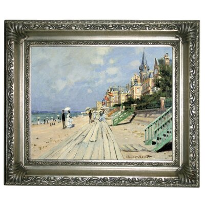'Beach at Trouville' by Claude Monet Framed Graphic Art Print on Canvas Size: 11