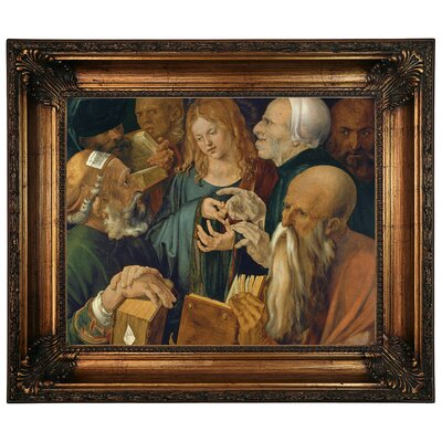 'Jesus Among the Doctors - Twelve-Year-Old Jesus Among the Scribes 1506' Framed Graphic Art Print on Canvas Size: 22.25