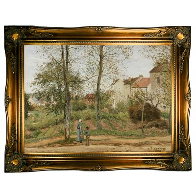 'Houses at Bougival Autumn 1870' by Camille Pissarro Framed Graphic Art Print on Canvas Size: 12.5
