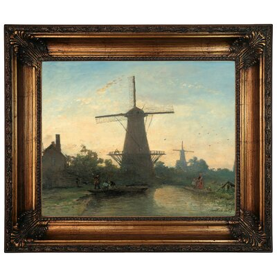 'Mills near Rotterdam 1857' Framed Graphic Art Print on Canvas Size: 22.25