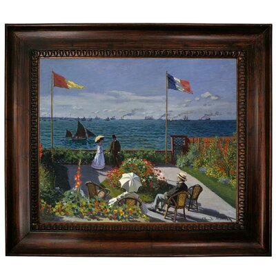 'Garden at Sainte Adresse' by Claude Monet Framed Graphic Art Print on Canvas Size: 27