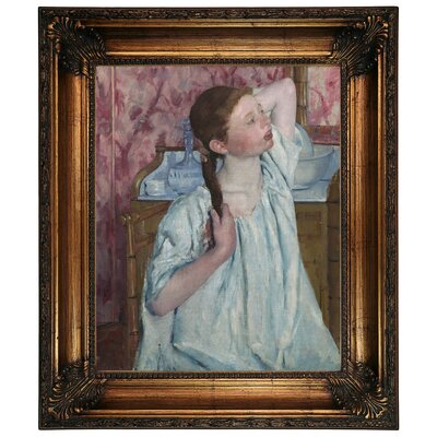 'Girl Arranging Her Hair 1886' by Mary Cassatt Framed Graphic Art Print on Canvas Size: 26.25