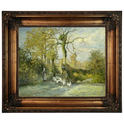 'The Goose Girl at Montfoucault White Frost 1875' by Camille Pissarro Framed Graphic Art Print on Canvas Size: 22.25