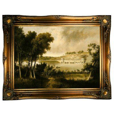 'View of the Fairmount Waterworks, Philadelphia, from the Opposite Side of the Schuylkill River 1824' Framed Graphic Art Print on Canvas