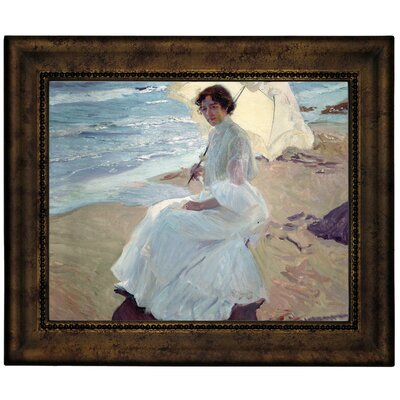 'Clotilde on the Beach 1904' Framed Graphic Art Print on Canvas Size: 10.75