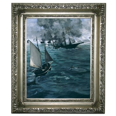 'The Battle of the U.S.S. Kearsarge and the C.S.S. Alabama 1864' by Edouard Manet Framed Graphic Art Print on Canvas Size: 13