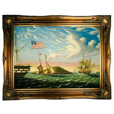 'Boston Harbor' Framed Graphic Art Print on Canvas