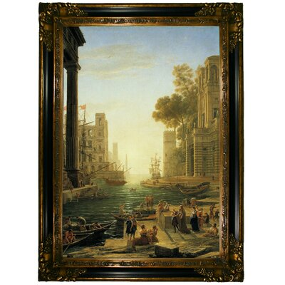 'Landscape with the Embarkment of Saint Paula Romana in Ostia' Framed Graphic Art Print on Canvas Format: Gold/Black Frame