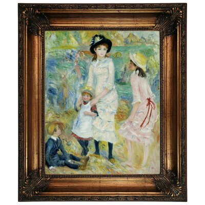 'Children on the Seashore Guernsey 1883' by Pierre-Auguste Renoir Framed Graphic Art Print on Canvas Size: 26.25