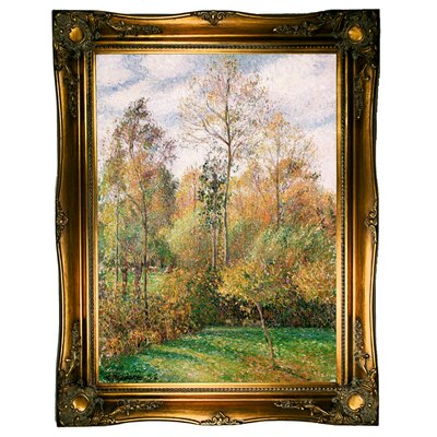 'Autumn, Poplars, Eragny 1894' by Camille Pissarro Framed Graphic Art Print on Canvas