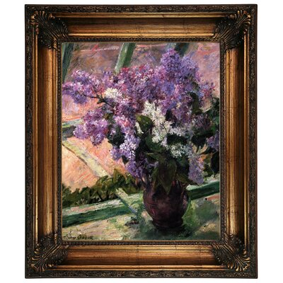 'Lilacs in a Window 1880' by Mary Cassatt Framed Graphic Art Print on Canvas Size: 26.25