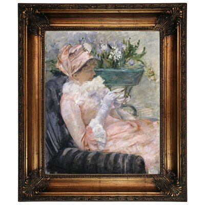 'The Cup of Tea 1880' by Mary Cassatt Framed Graphic Art Print on Canvas Size: 26.25